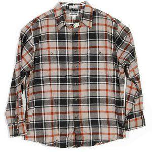 NEW VTG Campus Flannel Shirt Orange Black Plaid XL